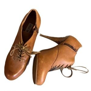 Steve Madden Whiskey Coloured Leather Oxford Heeled Booties - Women's Size 7.5